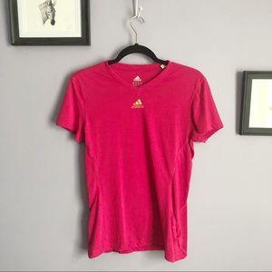 Adidas Hot Pink V Neck Short Sleeve Tee Shirt